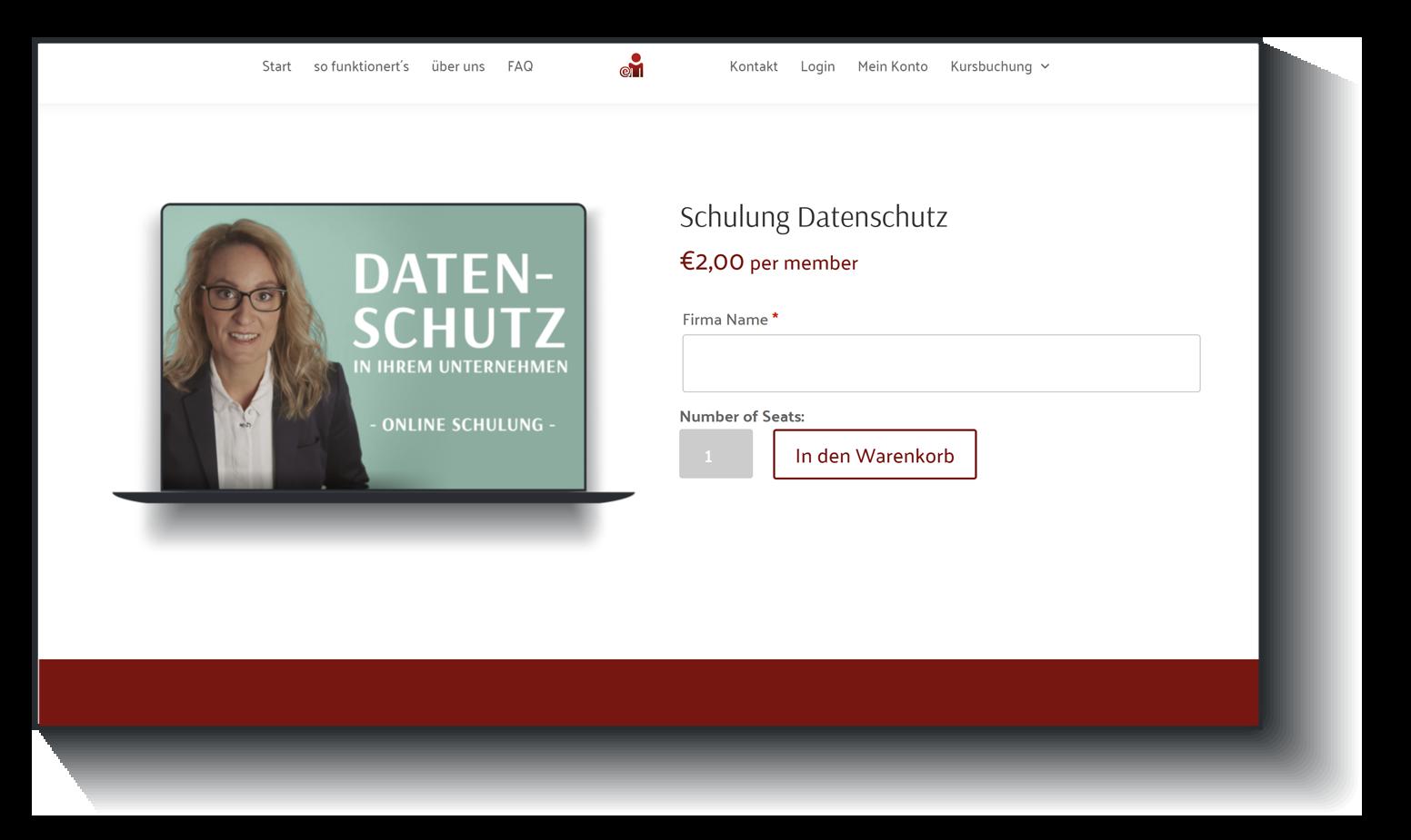 Datenschutz Online Unterricht- Buchung - Step 1 | emitarbeiterschulung.de